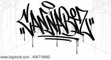 Graffiti Style Hand Written Word Cannabis Vector Illustration Art