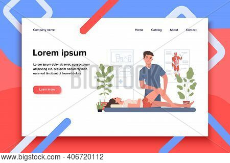 Massage Therapist Office. Man Massaging Woman Leg And Knee Flat Vector Illustration. Sport Massage,