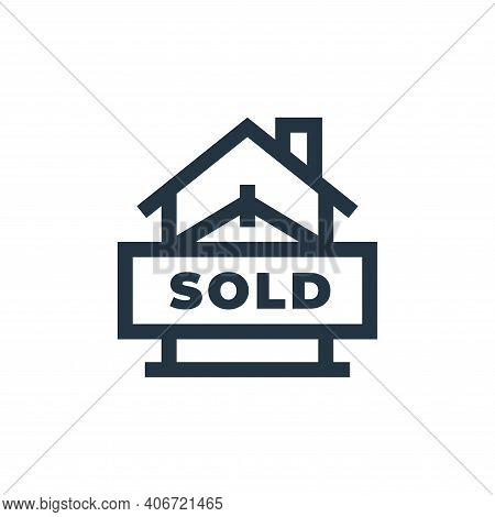 sold icon isolated on white background from real estate collection. sold icon thin line outline line