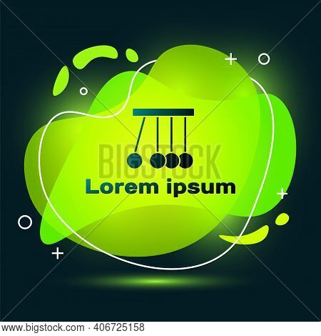 Black Pendulum Icon Isolated On Black Background. Newtons Cradle. Abstract Banner With Liquid Shapes