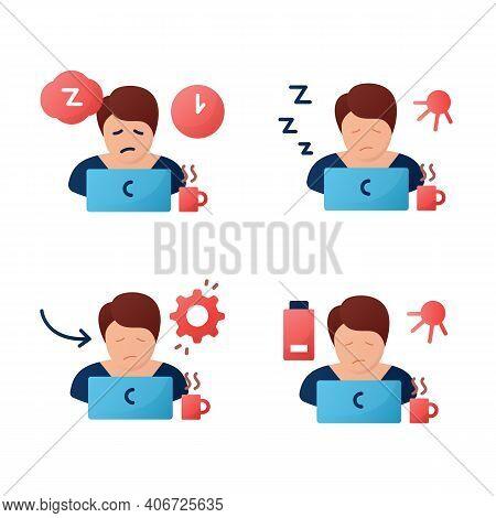 Sleep Disorder Flat Icons Set. . Healthy Sleeping Concept. Symptoms And Types Disorders Sleep. Falli