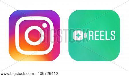Kiev, Ukraine - September 21, 2020: Instagram And Instagram Reels Icons, Printed On Paper. Instagram
