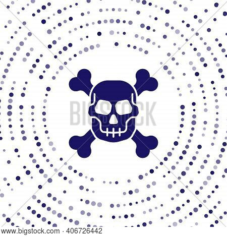 Blue Skull On Crossbones Icon Isolated On White Background. Happy Halloween Party. Abstract Circle R