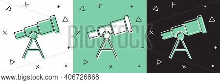 Set Telescope Icon Isolated On White And Green, Black Background. Scientific Tool. Education And Ast