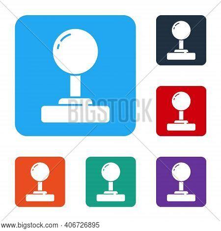 White Joystick For Arcade Machine Icon Isolated On White Background. Joystick Gamepad. Set Icons In