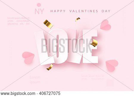Love Pink Vector Background With Golden Confetti. Valentines Day Celebrate Design. Festive Premium C