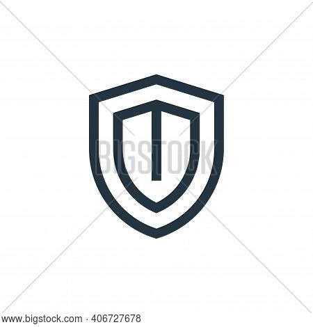 shield icon isolated on white background from web essentials collection. shield icon thin line outli