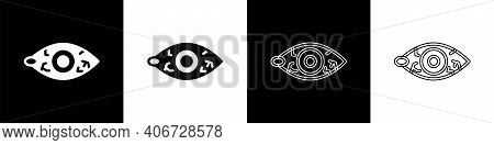 Set Reddish Eye Due To Viral, Bacterial Or Allergic Conjunctivitis Icon Isolated On Black And White