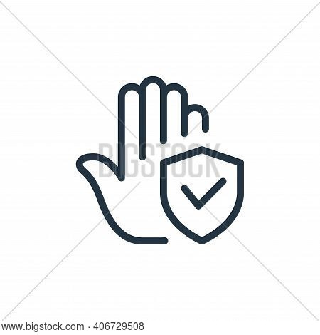 secure icon isolated on white background from coronavirus collection. secure icon thin line outline