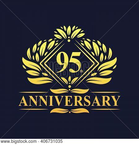 95 Years Anniversary Logo, Luxury Floral Golden 95th Anniversary Logo.