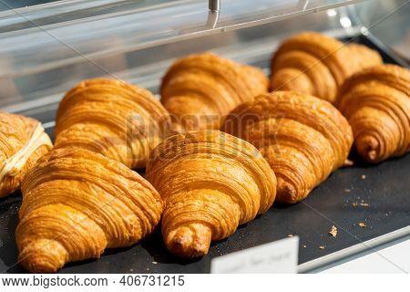 Freshly Baked Croissants. Good Quality Croissants. Bakery.
