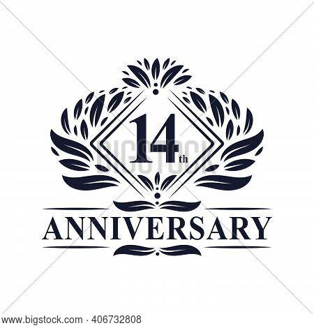 14 Years Anniversary Logo, Luxury Floral 14th Anniversary Logo.