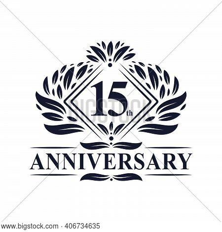 15 Years Anniversary Logo, Luxury Floral 15th Anniversary Logo.