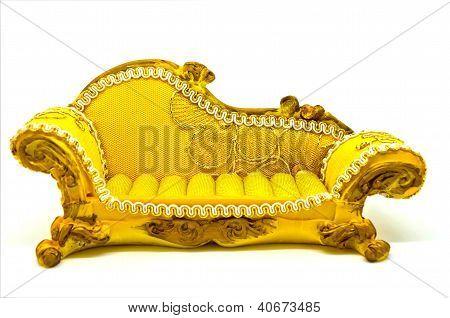 Yellow sofa on white background