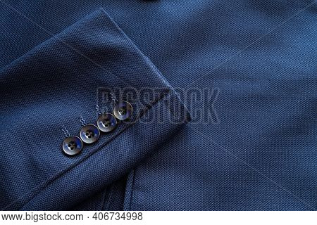 High Resolution With Details, Banner Shot Of Formal Dark Blue Wool Suit Fabric Texture. With Button