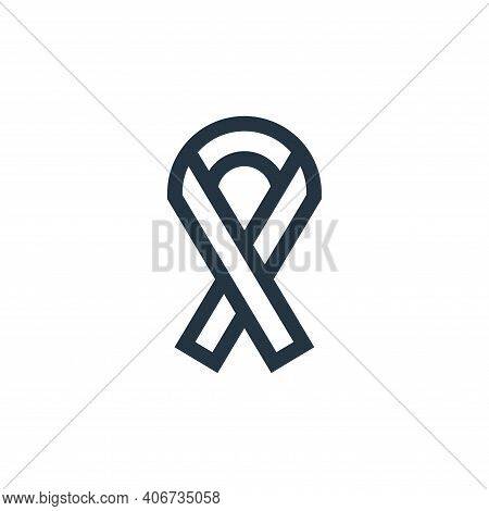 ribbon icon isolated on white background from charity collection. ribbon icon thin line outline line