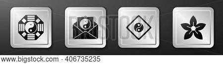 Set Yin Yang, Yin Yang And Envelope, Yin Yang And Lotus Flower Icon. Silver Square Button. Vector
