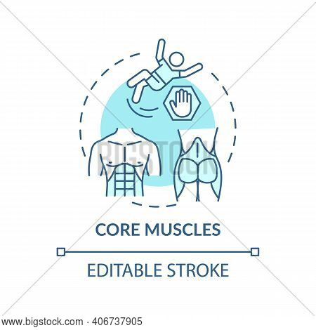 Core Muscles Concept Icon. Physical Training Type Idea Thin Line Illustration. Better Balance And St