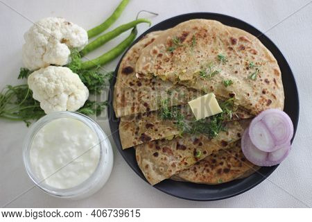 Gobi Paratha Or Cauliflower Paratha Is A Type Of Paratha Or Parantha Or Flatbread, That Is Stuffed W