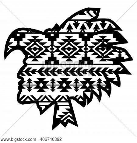Aztec Tribal Warrior With Aztec Southwest Pattern. Vector Illustration Warrior Black Silhouette Trad