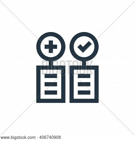 pros and cons icon isolated on white background from management collection. pros and cons icon thin