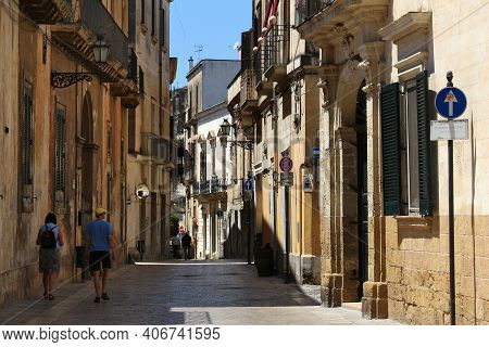Lecce, Italy - June 1, 2017: People Visit Baroque City Of Lecce, Italy. With 50.7 Million Annual Vis