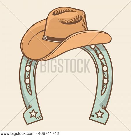 Cowboy Hat And Horseshoe Symbol Rodeo. Vector Color Illustration Cowboy Stuff For Deign Isolated