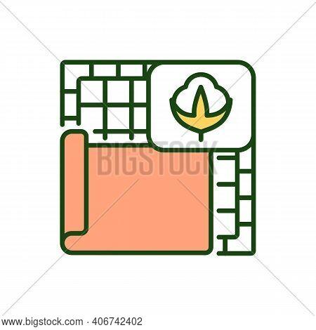 Cotton Fabric Rgb Color Icon. Eco Friendly Material. Natural Fiber. Carpet For House. Soft Cloth. Ma