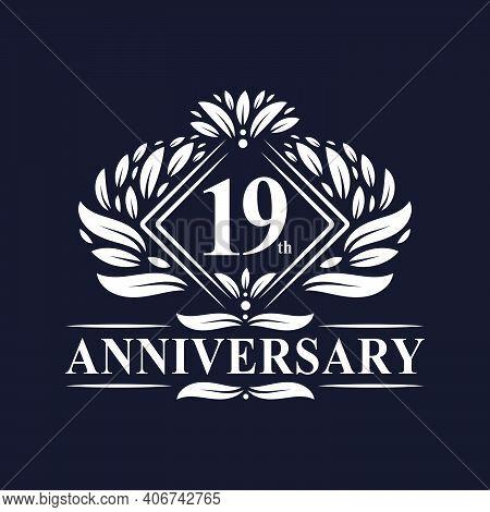 19 Years Anniversary Logo, Luxury Floral 19th Anniversary Logo.
