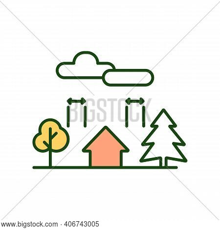 Landscaping Rgb Color Icon. Farmland Planning. Planting Trees Near Farm Home. Rural Country Environm