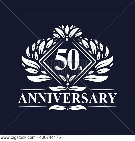 50 Years Anniversary Logo, Luxury Floral 50th Anniversary Logo.