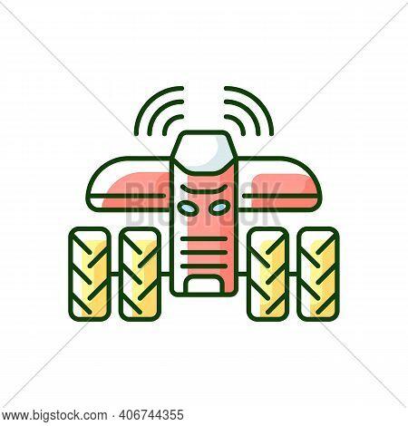 Driverless Tractors Rgb Color Icon. Autonomous Farm Vehicle. Agricultural Technology. Self-driving T