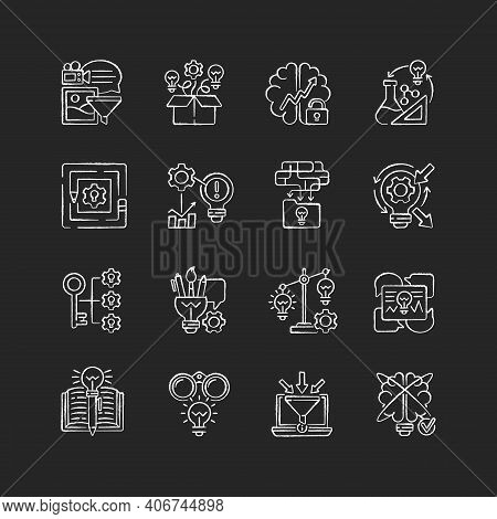 Creative Thinking Chalk White Icon On Black Background. Idea Prioritization.creative Problem Solving