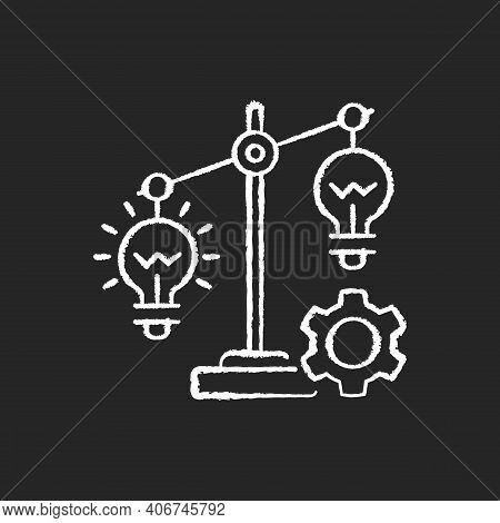 Idea Prioritization Chalk White Icons Set On Black Background. Creative Thinking Idea. Choosing Righ