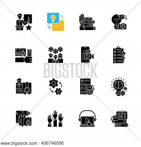 Workshop Black Glyph Icons Set On White Space. Knowledgeable Presenter. Sharing Experience. Details
