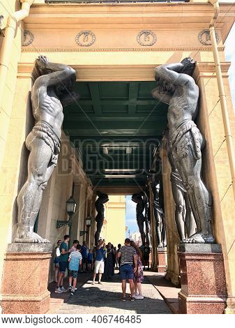 22 Of July 2020 - St.petersburg, Russia: Atlant Statues Near The Hermitage.
