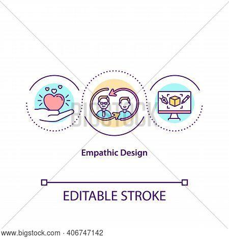 Empathic Design Concept Icon. User Centered Design Approach Idea Thin Line Illustration. Observation