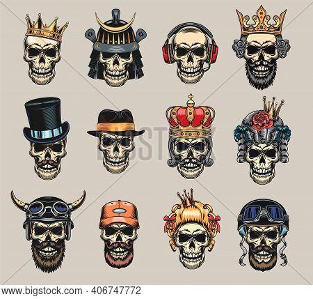 Colored Skulls Flat Badge Set. Scary Skulls With Helmet, Bandana, Crown, Gentleman Cap, Hair And Hea