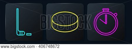 Set Line Ice Hockey Stick And Puck, Stopwatch And Hockey Puck. Black Square Button. Vector