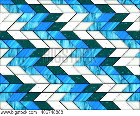 Illustration Of Geometric Pattern And Stained Glass Style In Blue And White Colors, Background And T