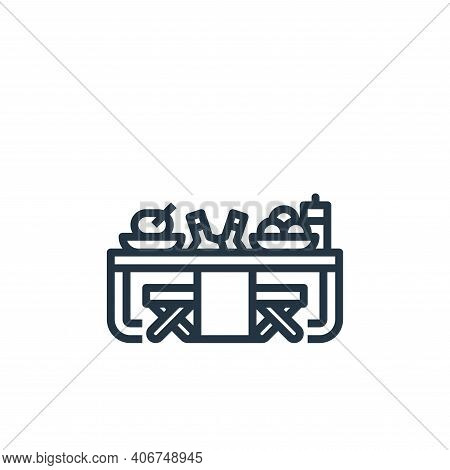 picnic table icon isolated on white background from camping collection. picnic table icon thin line