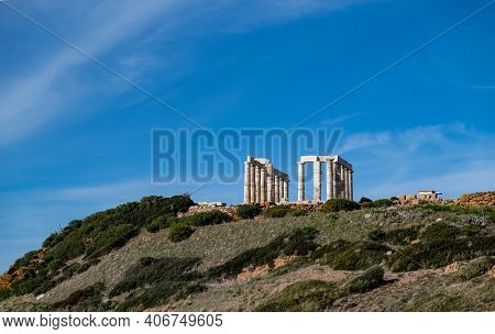 Greece Cape Sounio, Poseidon Temple. Archaeological Site Of Ancient Greek Temple Ruins Up On The Hil