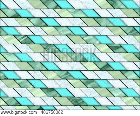 Illustration Of Geometric Pattern And Stained Glass Style In White, Blue And Green Colors, Backgroun