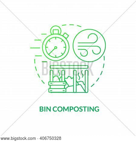 Bin Composting Concept Icon. Composting Method Idea Thin Line Illustration. Recycling Food Waste In