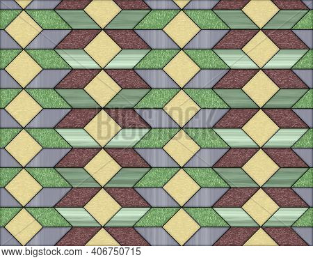 Illustration Of Geometric Pattern And Stained Glass Style In Various Colors, Background And Texture
