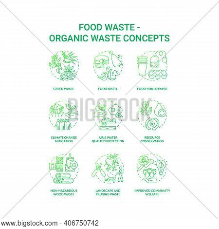 Food Waste Concept Icons Set. Organic Waste Idea Thin Line Rgb Color Illustrations. Food-soiled Pape