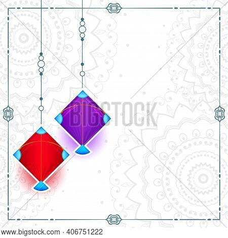 Two Kites On White Background With Text Space