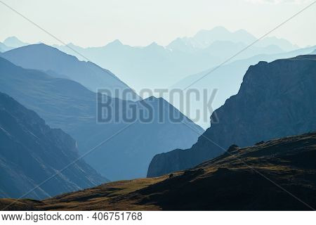 Awesome Scenic View To Great Mountains In Distance Behind Deep Gorge. Wonderful Mountain Landscape W