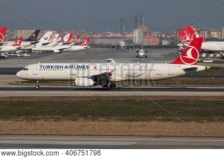 Istanbul, Turkey - March 27, 2019: Turkish Airlines Airbus A321 Tc-jru Passenger Plane Departure At