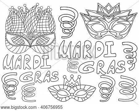 Mardi Gras Horizontal Coloring Page For Kids Stock Vector Illustration. Venetian Masks, Mardi Gras W
